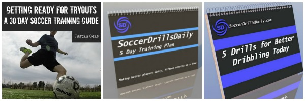 Collage of Soccer Training Guides Available on SoccerDrillsDaily .com